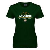 Ladies Dark Green T Shirt-Volleyball Design