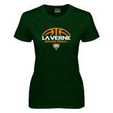 Ladies Dark Green T Shirt-Basketball Design