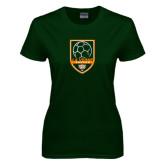 Ladies Dark Green T Shirt-Soccer Design