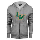 ENZA Ladies Grey Fleece Full Zip Hoodie-LV