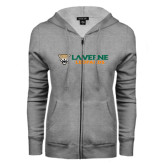 ENZA Ladies Grey Fleece Full Zip Hoodie-Horizontal Mark