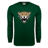 Dark Green Long Sleeve T Shirt-Leopard Head