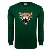 Dark Green Long Sleeve T Shirt-Leopard Head