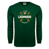 Dark Green Long Sleeve T Shirt-Baseball Design