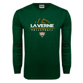 Dark Green Long Sleeve T Shirt-Volleyball Design