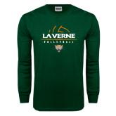 Dark Green Long Sleeve T Shirt-Volleyball Design