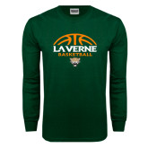 Dark Green Long Sleeve T Shirt-Basketball Design