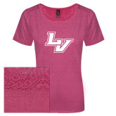 Ladies Dark Fuchsia Heather Tri-Blend Lace Tee-LV