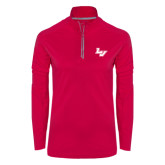 Ladies Pink Raspberry Sport Wick Textured 1/4 Zip Pullover-LV