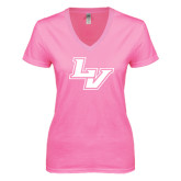 Next Level Ladies Junior Fit Ideal V Pink Tee-LV