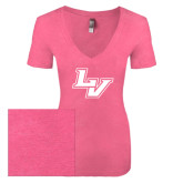 Next Level Ladies Vintage Pink Tri Blend V-Neck Tee-LV