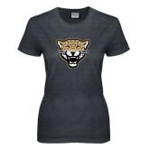 Ladies Dark Heather T Shirt-Leopard Head