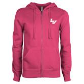 ENZA Ladies Fuchsia Fleece Full Zip Hoodie-LV
