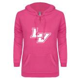 ENZA Ladies Hot Pink V Notch Raw Edge Fleece Hoodie-LV