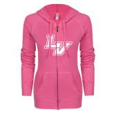 ENZA Ladies Hot Pink Light Weight Fleece Full Zip Hoodie-LV
