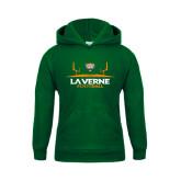 Youth Dark Green Fleece Hoodie-Football Design