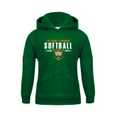 Youth Dark Green Fleece Hoodie-Softball Design