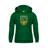 Youth Dark Green Fleece Hoodie-Soccer Design
