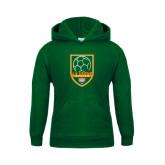 Youth Dark Green Fleece Hoodie-Soccer Design