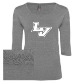 Ladies Grey Heather Tri Blend Lace 3/4 Sleeve Tee-LV