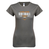 Ladies SoftStyle Junior Fitted Charcoal Tee-Softball Design