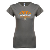 Ladies SoftStyle Junior Fitted Charcoal Tee-Basketball Design