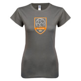 Ladies SoftStyle Junior Fitted Charcoal Tee-Soccer Design