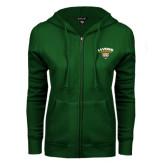 ENZA Ladies Dark Green Fleece Full Zip Hoodie-Official Logo