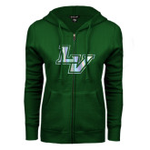 ENZA Ladies Dark Green Fleece Full Zip Hoodie-LV
