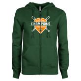 ENZA Ladies Dark Green Fleece Full Zip Hoodie-2018 SCIAC Baseball Champions