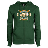 ENZA Ladies Dark Green Fleece Full Zip Hoodie-2018 SCIAC Softball Champions