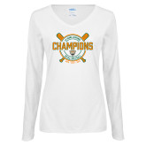 Ladies White Long Sleeve V Neck Tee-2018 SCIAC Softball Champions