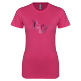 Ladies SoftStyle Junior Fitted Fuchsia Tee-LV