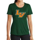 Ladies Performance Dark Green Tee-LV