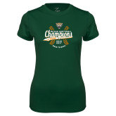 Ladies Performance Dark Green Tee-SCIAC Softball Champions