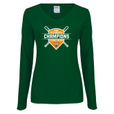 Ladies Dark Green Long Sleeve V Neck Tee-2018 SCIAC Baseball Champions