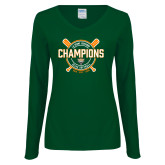 Ladies Dark Green Long Sleeve V Neck Tee-2018 SCIAC Softball Champions