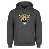 Charcoal Fleece Hoodie-Leopard Head