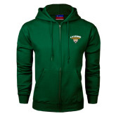 Dark Green Fleece Full Zip Hoodie-Official Logo