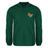 V Neck Dark Green Raglan Windshirt-LV