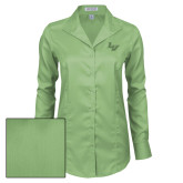 Ladies Red House Green Herringbone Non Iron Long Sleeve Shirt-LV