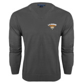 Classic Mens V Neck Charcoal Heather Sweater-Official Logo