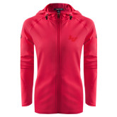 Ladies Tech Fleece Full Zip Hot Pink Hooded Jacket-LV