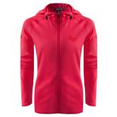 Ladies Tech Fleece Full Zip Hot Pink Hooded Jacket-LV