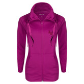 Ladies Sport Wick Stretch Full Zip Deep Berry Jacket-LV