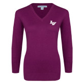 Ladies Deep Berry V Neck Sweater-LV