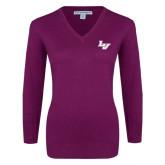 Ladies Deep Berry V Neck Sweater-LV