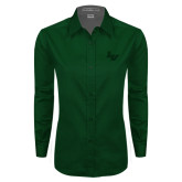 Ladies Dark Green Twill Button Down Long Sleeve-LV