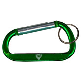 Green Carabiner with Split Ring-Leopard Head Engraved
