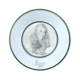 Silver Two Tone Small Round Photo Frame-LV Engraved